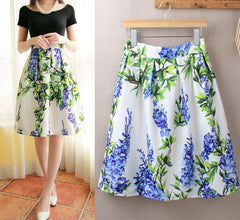 Elastic Waist Big Flower Print Loose Puff Midi Skirt - Oh Yours Fashion - 2