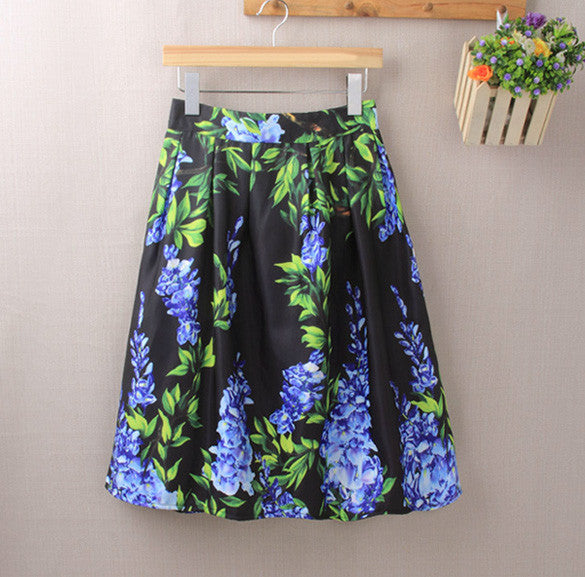 Elastic Waist Big Flower Print Loose Puff Midi Skirt - Oh Yours Fashion - 1