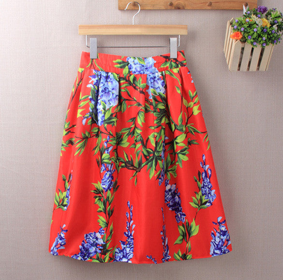 Elastic Waist Big Flower Print Loose Puff Midi Skirt - Oh Yours Fashion - 5