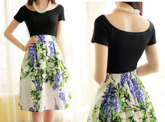 Elastic Waist Big Flower Print Loose Puff Midi Skirt - Oh Yours Fashion - 4