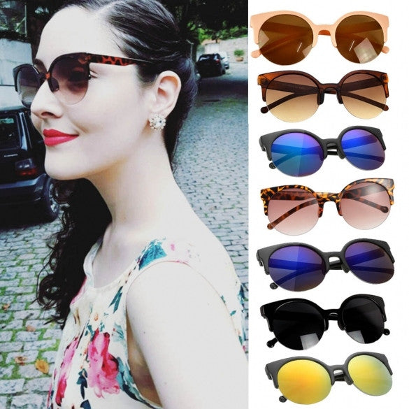 Fashion Unisex Retro Designer Super Round Circle Cat Eye Semi-Rimless Sunglasses Glasses Goggles - Oh Yours Fashion - 1