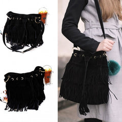New Fashion Women's Faux Suede Fringe Tassels Cross-body Bag Shoulder Bag Handbags - Oh Yours Fashion - 3