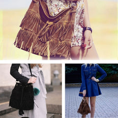 New Fashion Women's Faux Suede Fringe Tassels Cross-body Bag Shoulder Bag Handbags - Oh Yours Fashion - 5