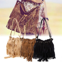 New Fashion Women's Faux Suede Fringe Tassels Cross-body Bag Shoulder Bag Handbags - Oh Yours Fashion - 1