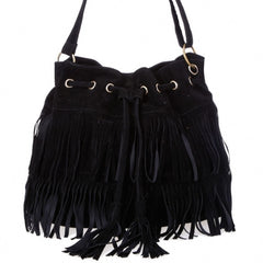 New Fashion Women's Faux Suede Fringe Tassels Cross-body Bag Shoulder Bag Handbags - Oh Yours Fashion - 2