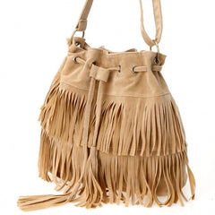 New Fashion Women's Faux Suede Fringe Tassels Cross-body Bag Shoulder Bag Handbags - Oh Yours Fashion - 4