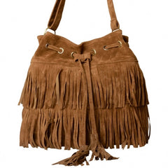 New Fashion Women's Faux Suede Fringe Tassels Cross-body Bag Shoulder Bag Handbags - Oh Yours Fashion - 6