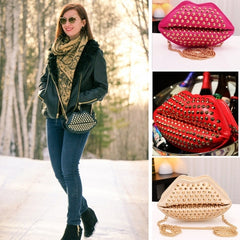 New Fashion Lady Women's Artificial Leather Lip Shape Chain Rivets Shoulder Bag Cross Bags - Oh Yours Fashion - 2