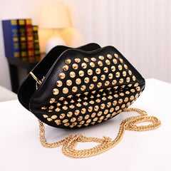 New Fashion Lady Women's Artificial Leather Lip Shape Chain Rivets Shoulder Bag Cross Bags - Oh Yours Fashion - 4