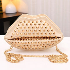 New Fashion Lady Women's Artificial Leather Lip Shape Chain Rivets Shoulder Bag Cross Bags - Oh Yours Fashion - 7