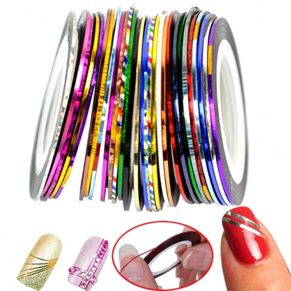30Pcs Mixed Colors Rolls Striping Tape Line Nail Art Decoration Sticker - Oh Yours Fashion - 1