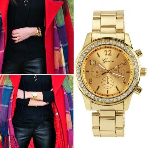 Women Ladies Chronograph Wristwatch Stainless Steel Analog Quartz Wrist Watch 4 Colors
