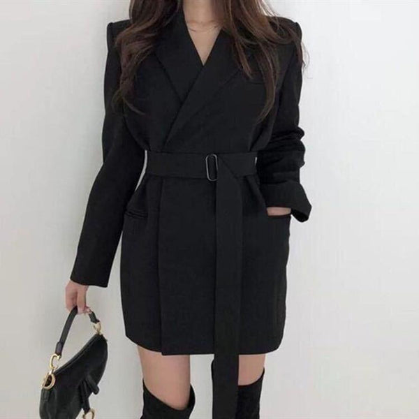 Autumn Winter Women's Blazers Sashes Jackets Notched Outerwear England Style Solid Cardigan Tops