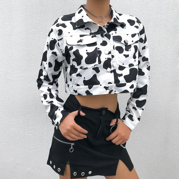 Streetwear Cow Print Cropped Female Jacket Casual Buttons Coat Women Cardigan Spring Autumn Basic Jackets Outwear