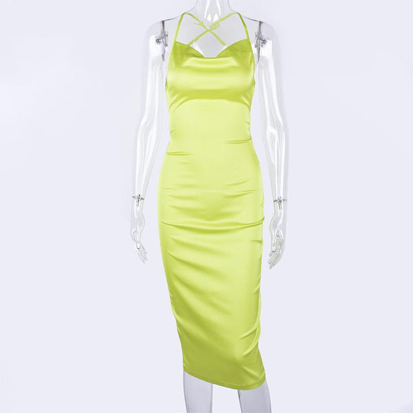 Neon Satin Lace Up Summer Women Bodycon Long Midi Dress Sleeveless Backless Elegant Party Outfits Sexy Club Clothes