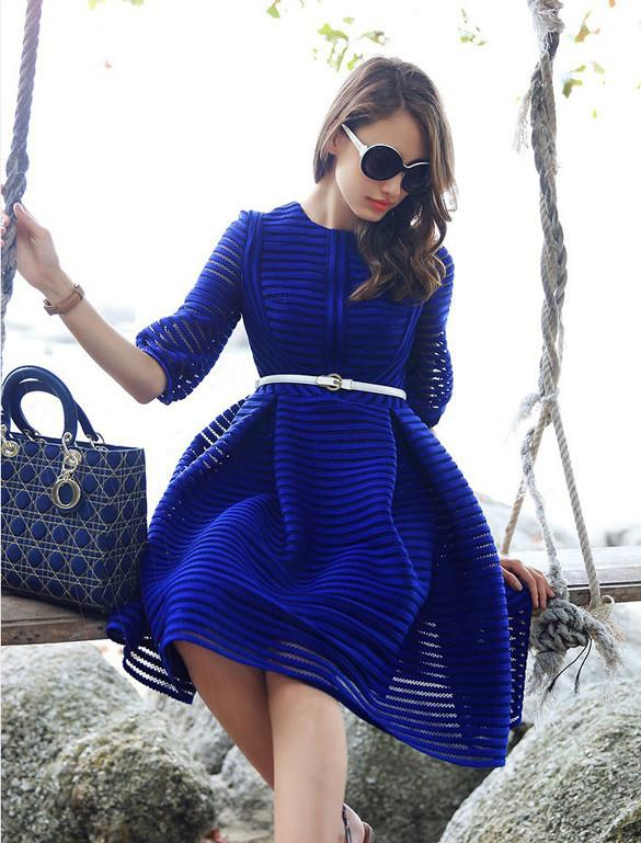 Half Sleeve High Waist Striped Knee-length Sexy Dress with Belt on - MeetYoursFashion - 5