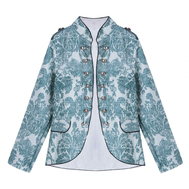Women Autumn Print Outerwear Coats Fashion Button Long Sleeve Double-Breasted Coat Office Lady Slim Coats
