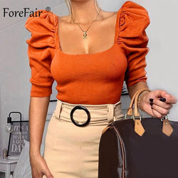 Vintage Puff Sleeve Women Blouse Square Neck Korean Style Tops Elegant Sexy Slim Crop Blouse