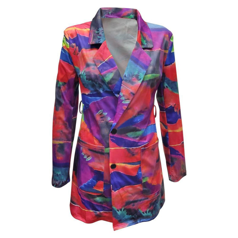 Winter Autumn Women Notched Long Sleeve Graffiti Print Blazers Vintage Office Lady Outfit High Street Coat