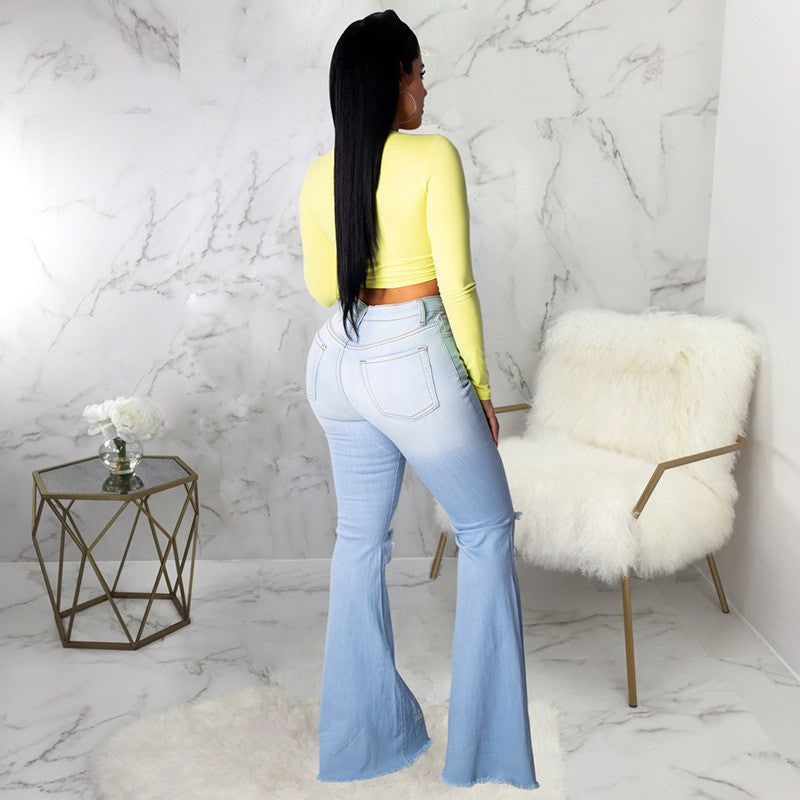 Flare High Waist Ripped Bodycon Denim Pants