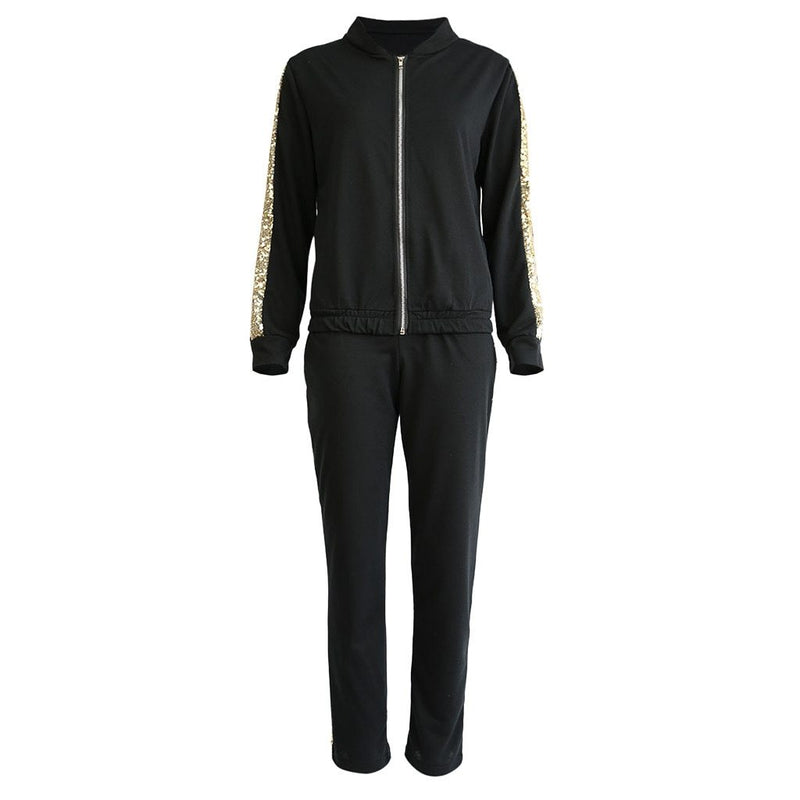 Women'S Tracksuit Two Piece Set Sports Suits Autumn New Fashion Casual Sequins Stitching Jacket Trousers Sports Suit