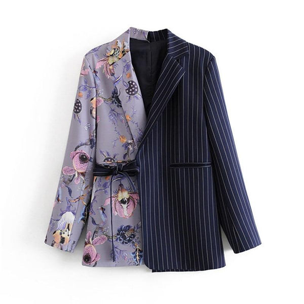 Vintage Stylish Striped Patchwork Office Lady Blazers Coat Notched Collar Long Sleeve Chic Blazer Outerwear