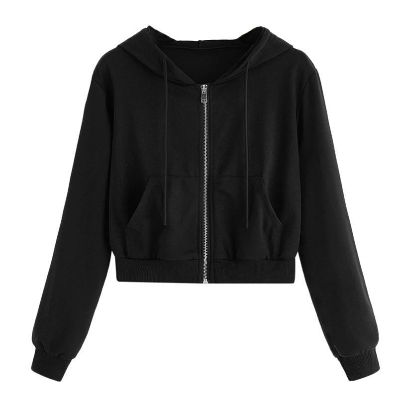 Zip-Up Autumn Winter Women Hoodies Pockets Slim Crop Jacket Female Clothes Drawstring White Sexy Hoody Cotton Coats
