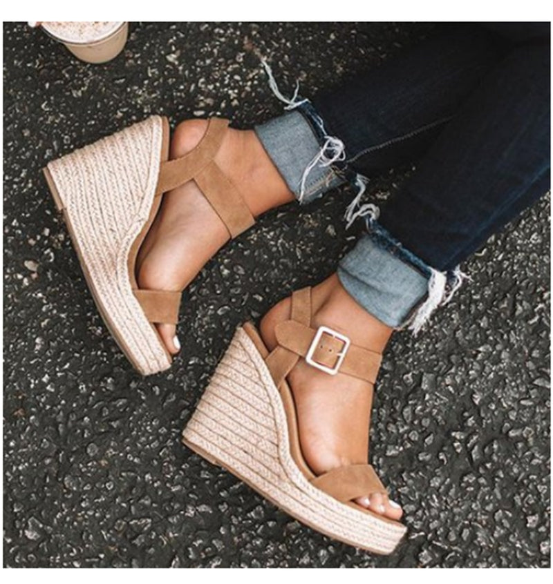 Wedge Suede Patchwork High Heel Sandals