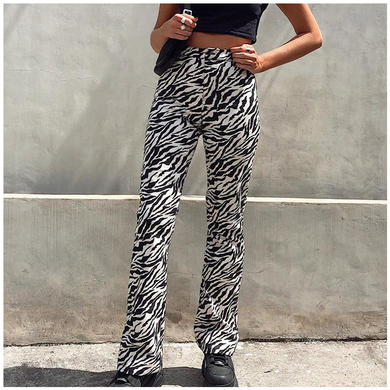 Party Elastic High Waist Print Wide Leg Pants