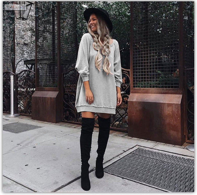 Fashion Loose Style Pure Color Long Sleeve Short Dress - Oh Yours Fashion - 3
