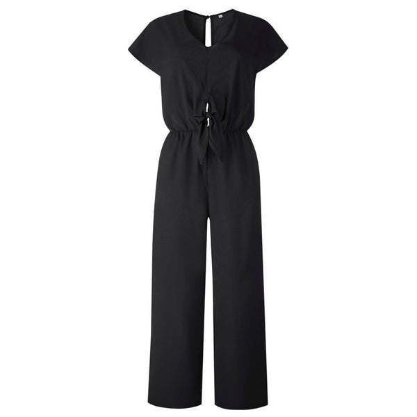 Black Wide Leg Backless V Neck High Waist Jumpsuits