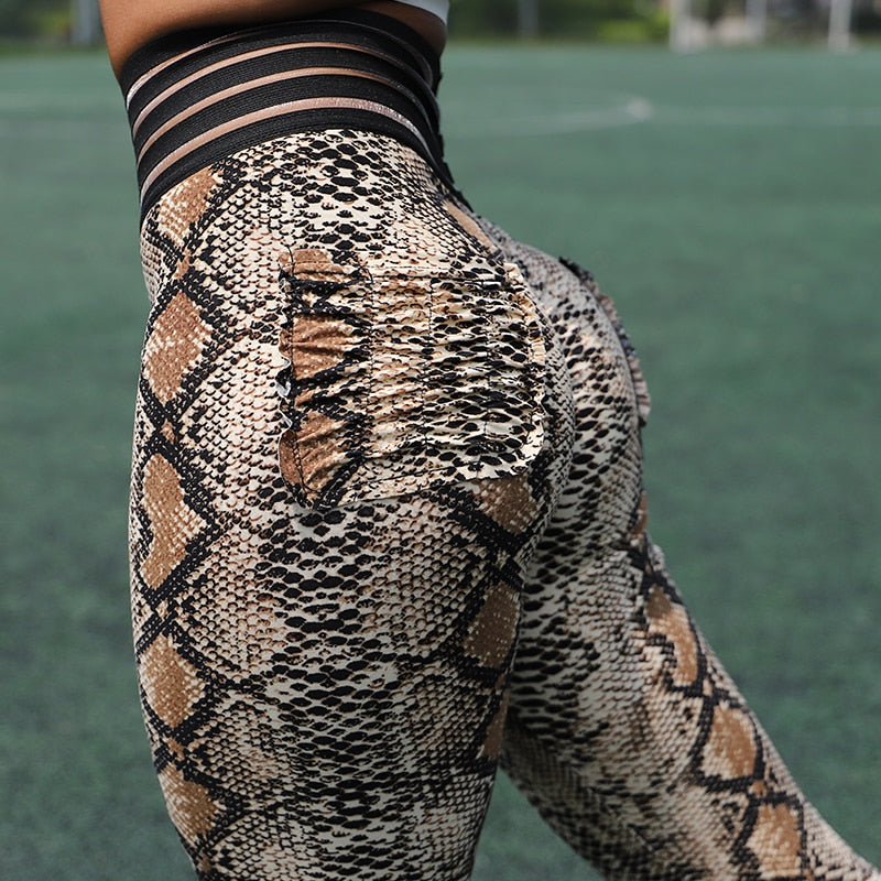 Animal Print High Waist Seamless Bodycon Leggings Pants