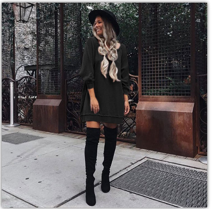 Fashion Loose Style Pure Color Long Sleeve Short Dress - Oh Yours Fashion - 5
