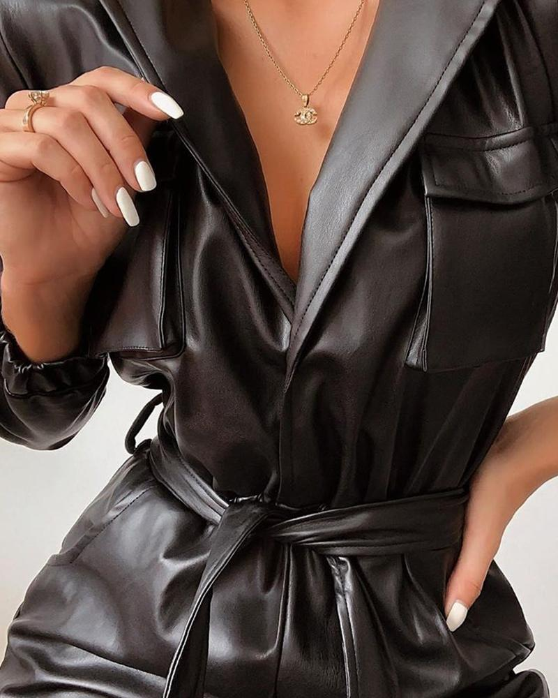 Leather Sashes Long Sleeveless Jumpsuits