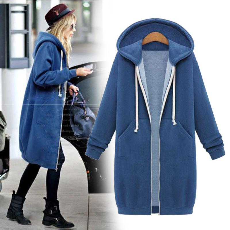 High quality Women Casual Long Zipper Hooded Jacket Hoodies Sweatshirt Vintage Streetwear Plus Size Outwear Hoody Coat Clothing