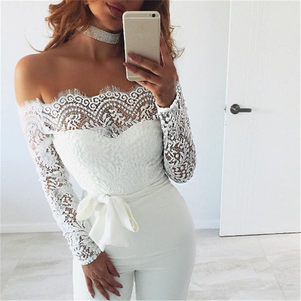 Off Shoulder Lace High Waist Wide Jumpsuits