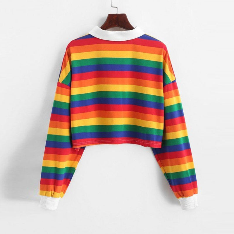 Hoodies Women Rainbow Patchwork Women'S Sweatshirt Summer Button Turndown Harajuku Streetwear Fashion Crop Top Hoodie