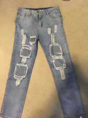 Big Holes Ripped Beggar BY Style DIY Jeans