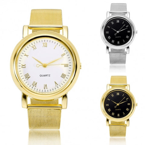 Fashion Classic Women Watch Round Dial Quartz Wristwatch Stainless Steel Mesh Band