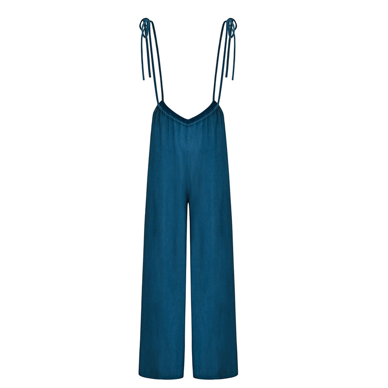 Wide Leg Plain Cotton Overalls  Jumpsutis