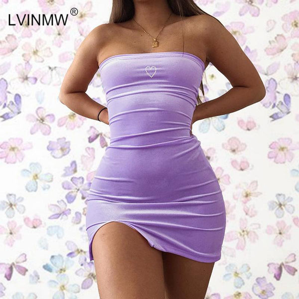 Sexy Velvet Slash Neck Love Print Side Split Mini Dress Summer Women Sleeveless Backless Slim Dresses