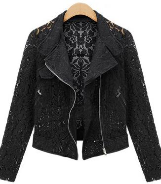 Lace Biker Jacket Autumn High Quality Full Lace Outwear Leisure Casual Short Jacket Metal Zipper Jacket