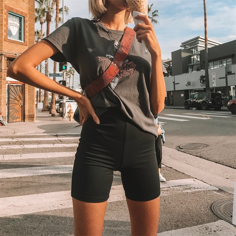 Black High Waist Plain Bodycon Short Pants