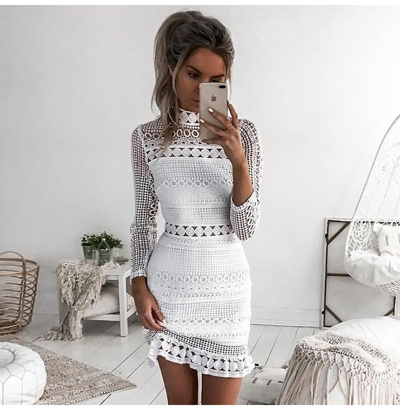 Sexy Lace Stitching Hollow Out Dress Elegant Women Sleeveless White Summer Chic Short Club Party Dresses