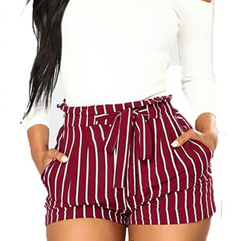 Stripes High Waist Strap Short Pants