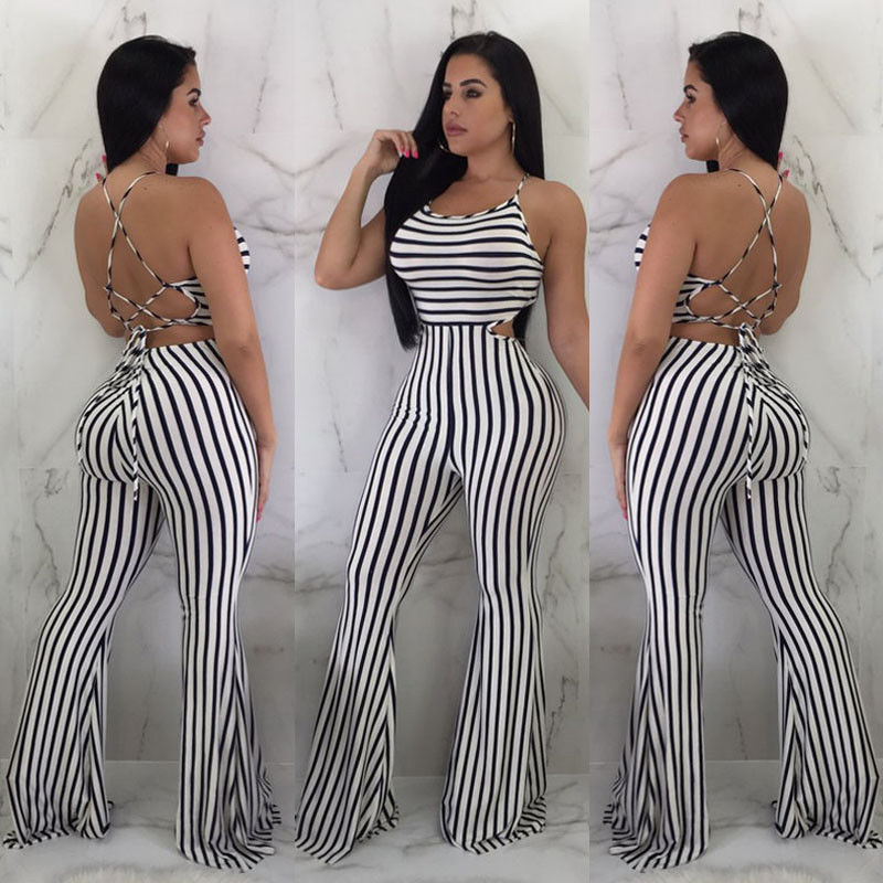Stripes High Waist Wide Leg Bandage Halter Jumpsuits
