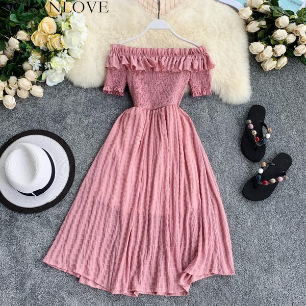Women Summer Dresses Plaid Slash Neck Off Shouder Solid Vestidos Ruffles A-Line High Waist Dress