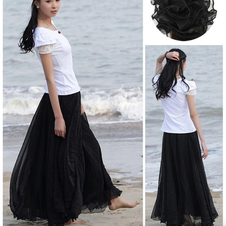 Bohemian Flared Pleated Pure Color Slim Floor Maxi Skirt - Oh Yours Fashion - 15
