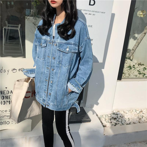 Solid Turn-down Collar Jean Jacket for Women Loose Casual Blue Fashionable Women Coats Female Outwear