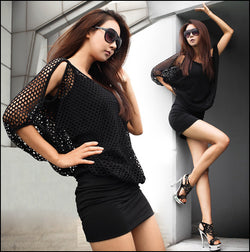 Two Pieces Batwing Mini Dress with Hollow Out Cover - O Yours Fashion - 1